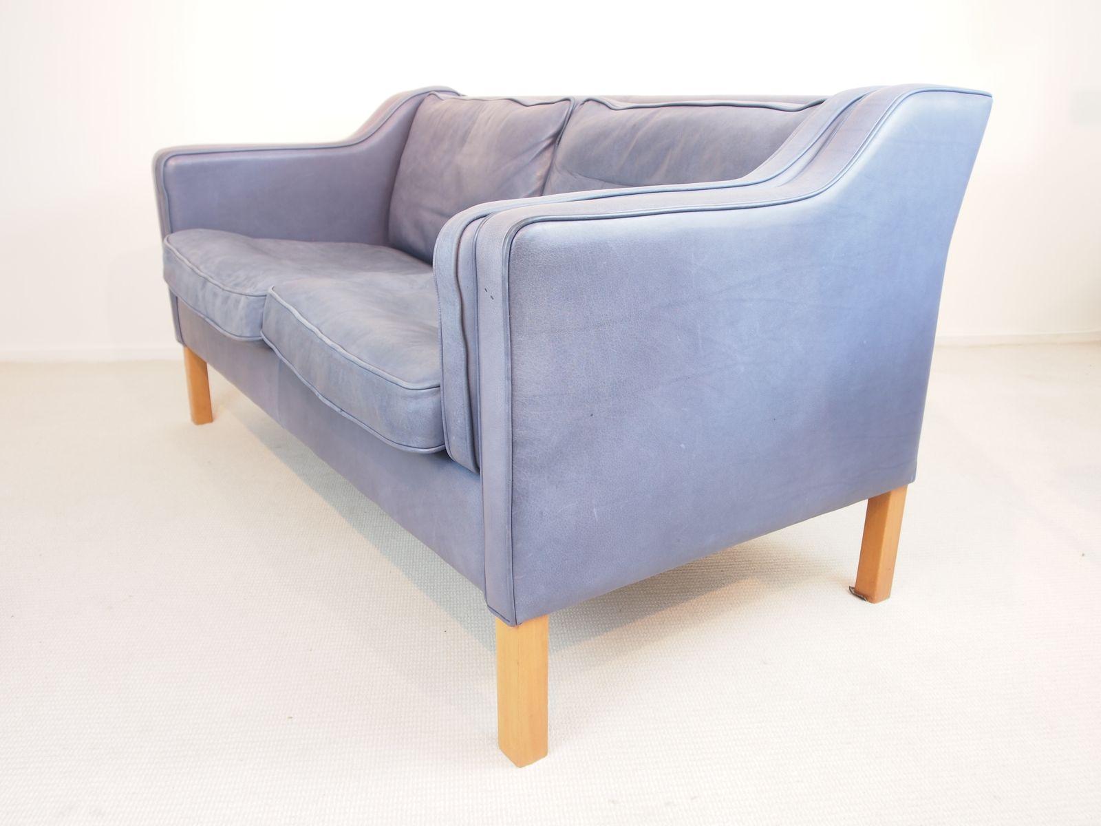 blaues vintage anilin sofa von georg thams bei pamono kaufen. Black Bedroom Furniture Sets. Home Design Ideas