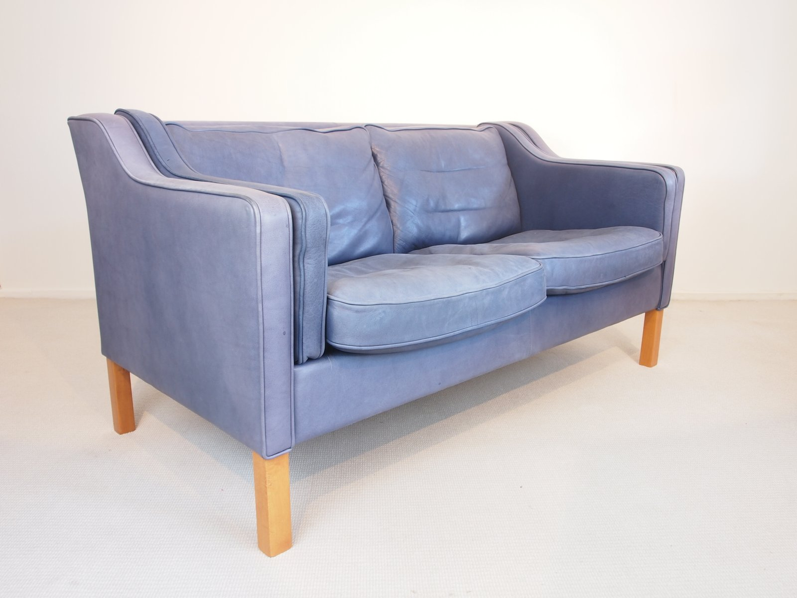 Vintage Blue Aniline Leather Sofa From Georg Thams