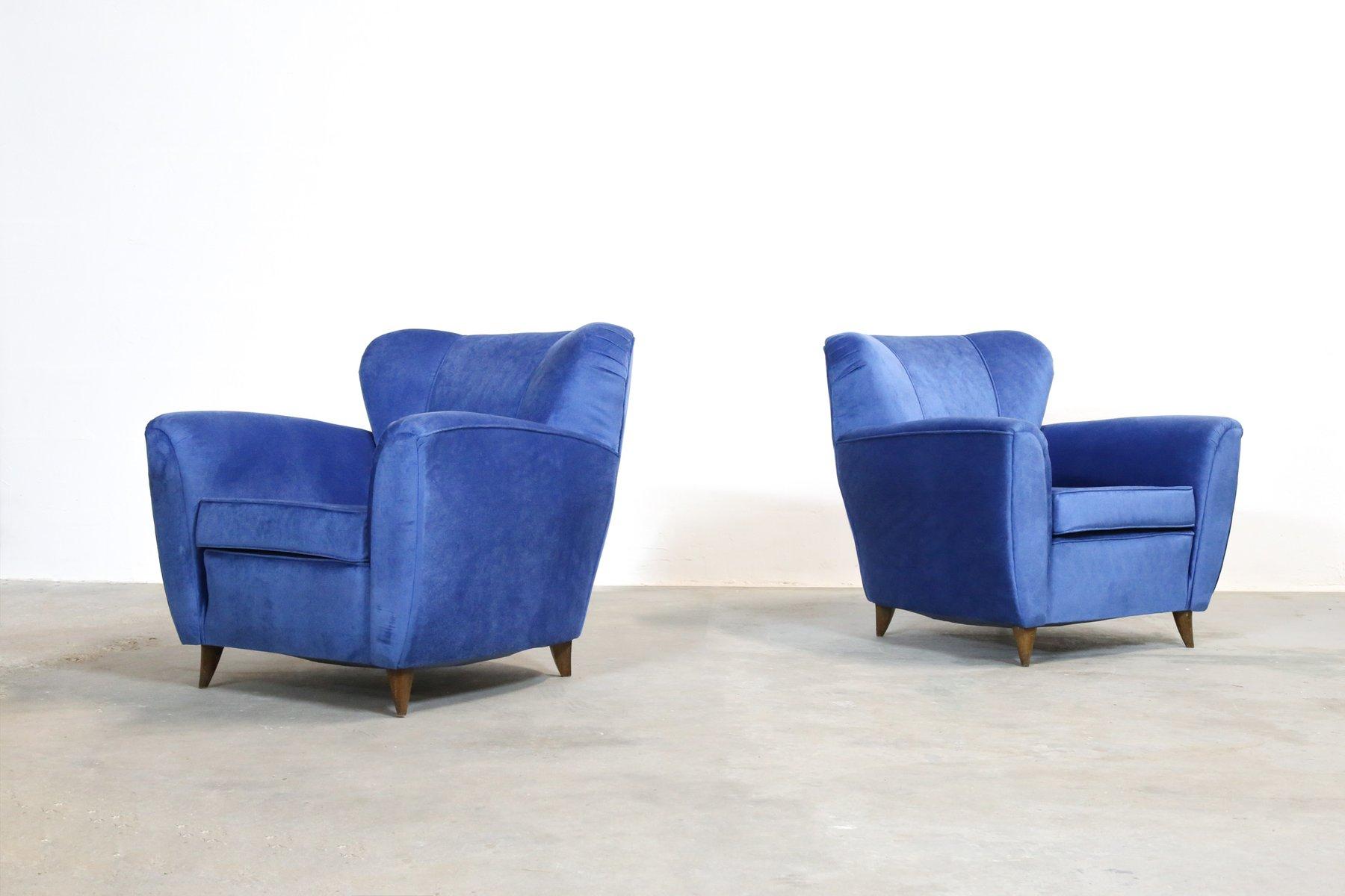 Italienische blaue vintage sessel 1960er 2er set bei for Sessel italienisches design