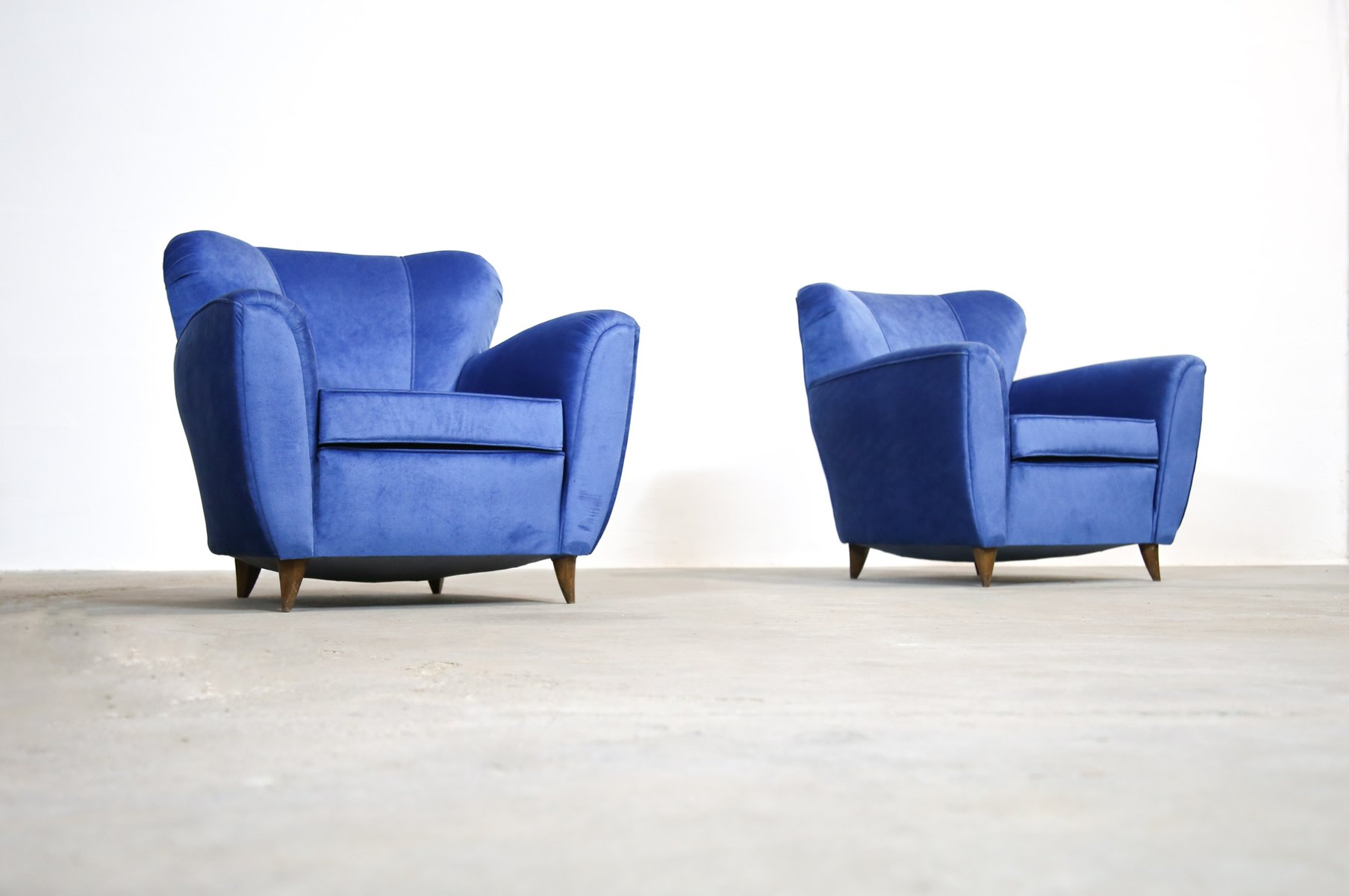 vintage italian blue armchairs 1960s set of 2 for sale at pamono. Black Bedroom Furniture Sets. Home Design Ideas