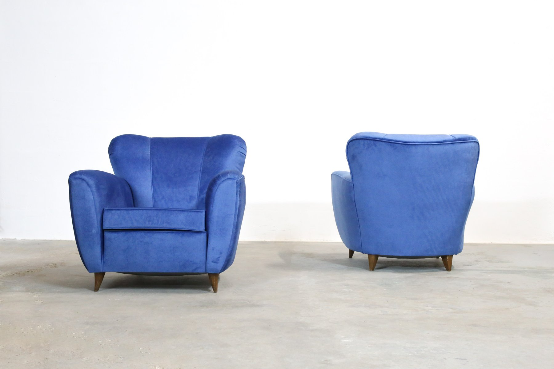 italienische blaue vintage sessel 1960er 2er set bei. Black Bedroom Furniture Sets. Home Design Ideas