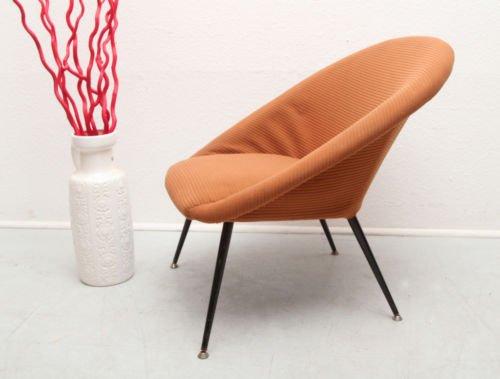 mid century lounge stuhl mit metallbeinen 1950er bei. Black Bedroom Furniture Sets. Home Design Ideas