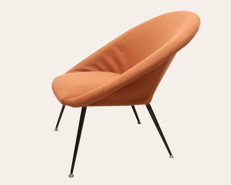 mid century lounge stuhl mit metallbeinen 1950er bei pamono kaufen. Black Bedroom Furniture Sets. Home Design Ideas