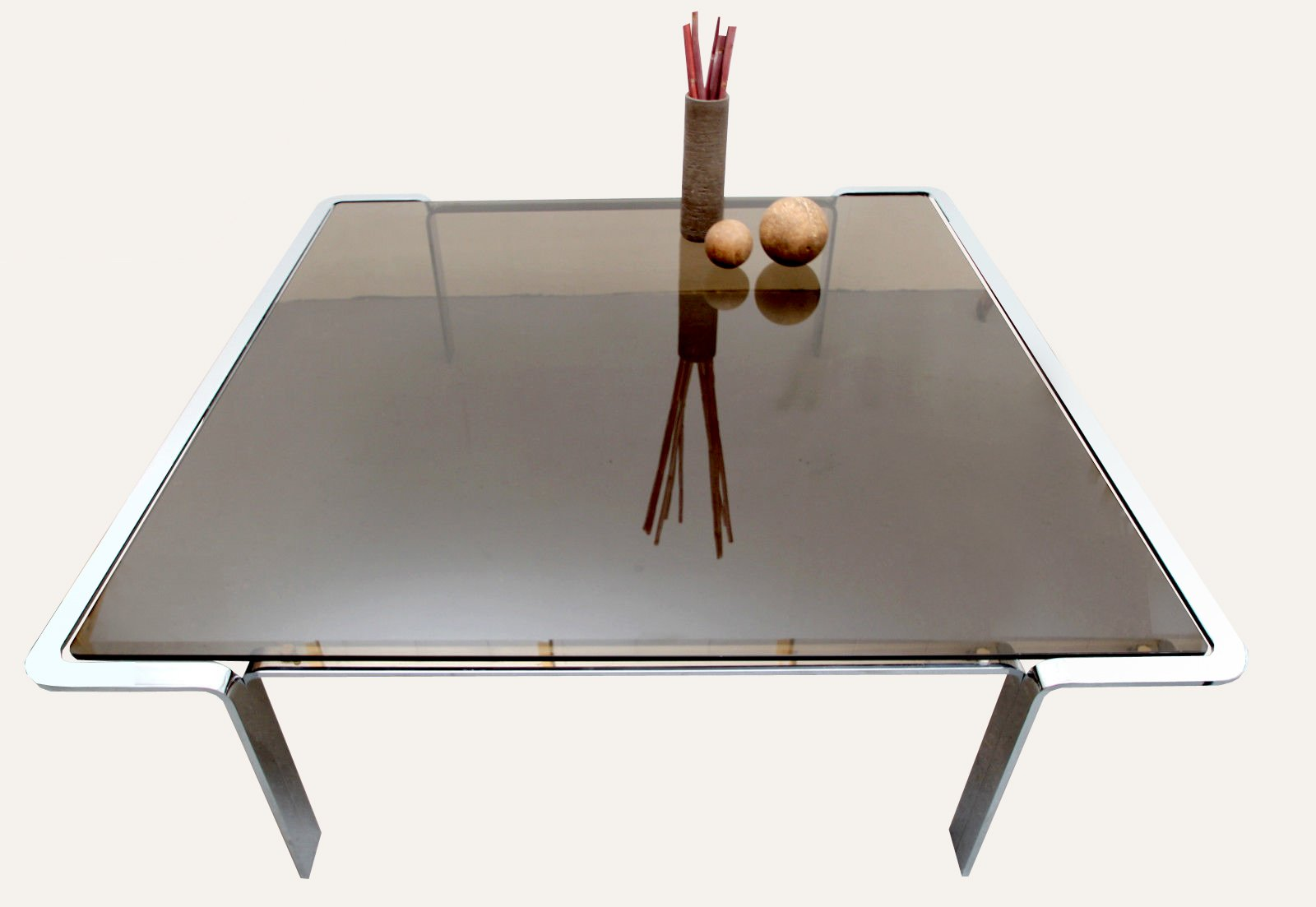 grande table basse en verre fum 1970s en vente sur pamono. Black Bedroom Furniture Sets. Home Design Ideas