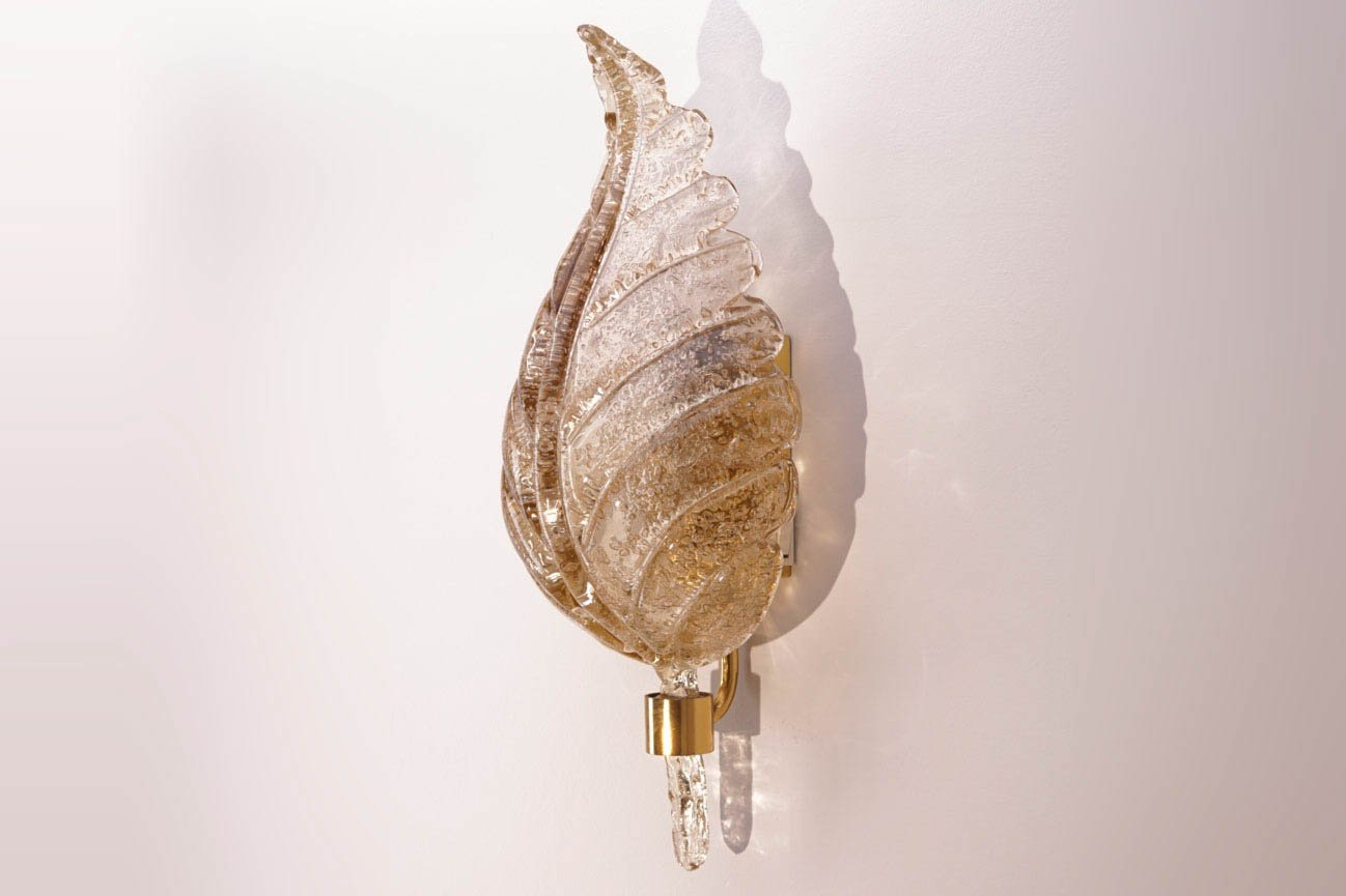 Large murano glass wall light from barovier e toso 1960s for Large glass wall