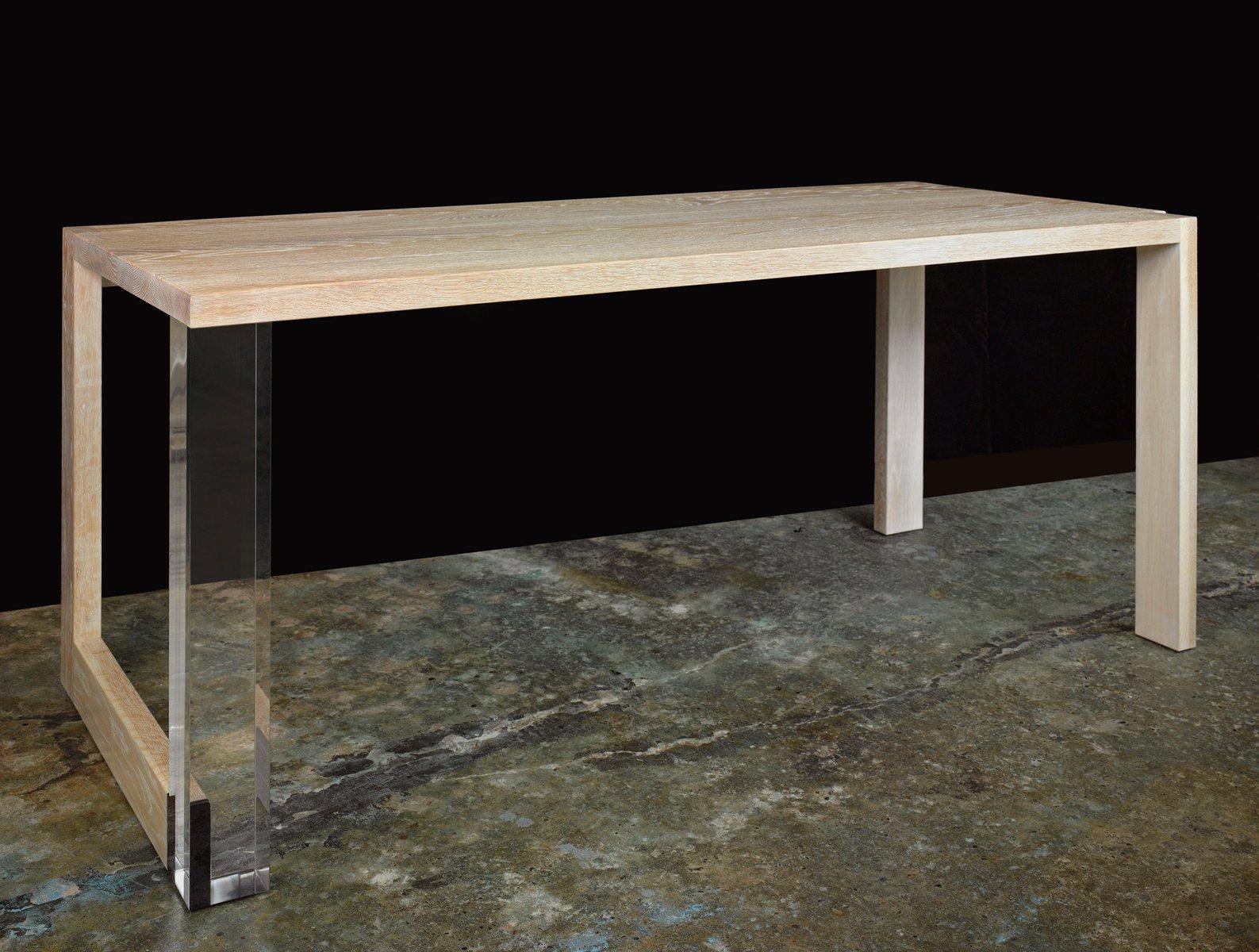 tisch aus gekalkter eiche und plexiglas von paul kelley. Black Bedroom Furniture Sets. Home Design Ideas