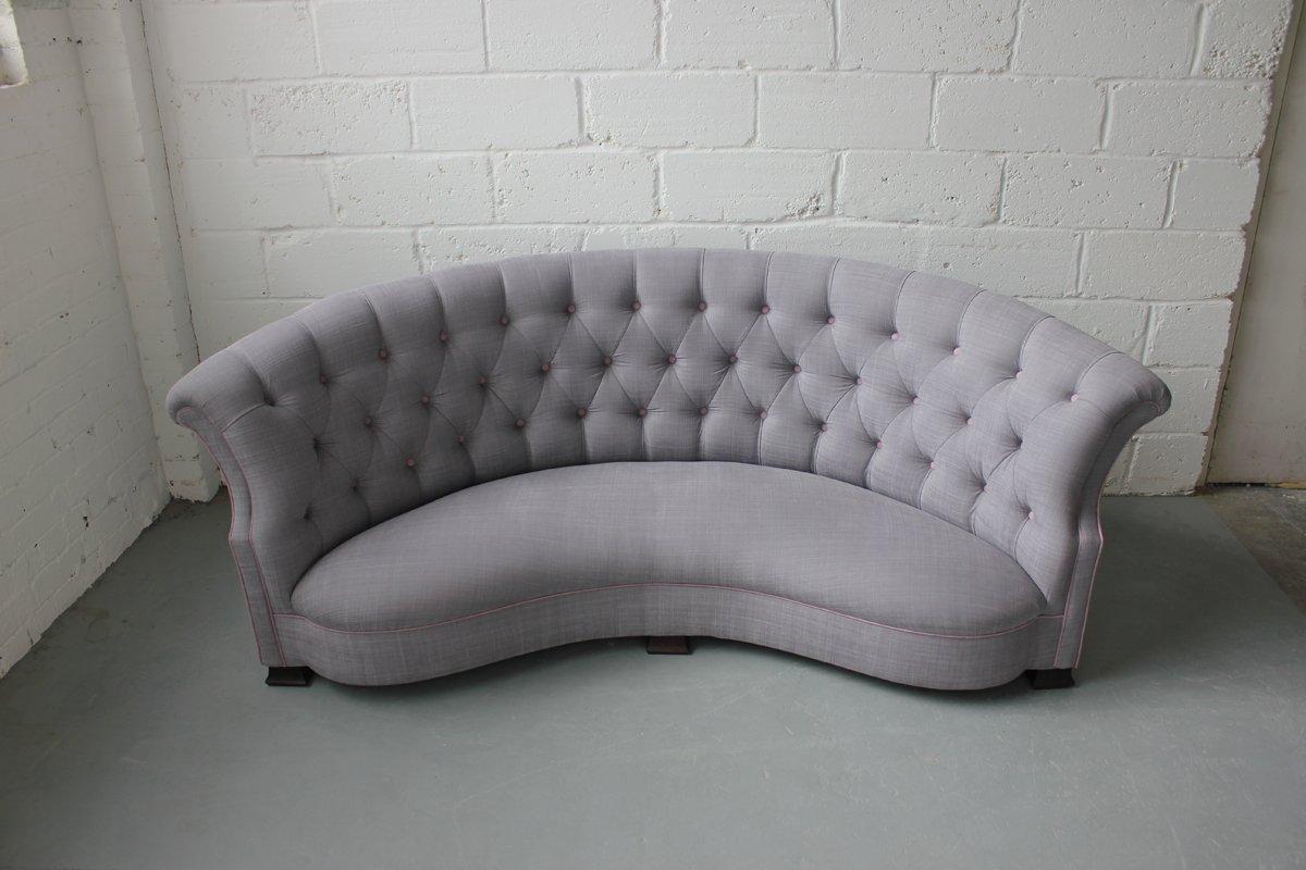vintage curved english sofa 1920s - Vintage Sofa