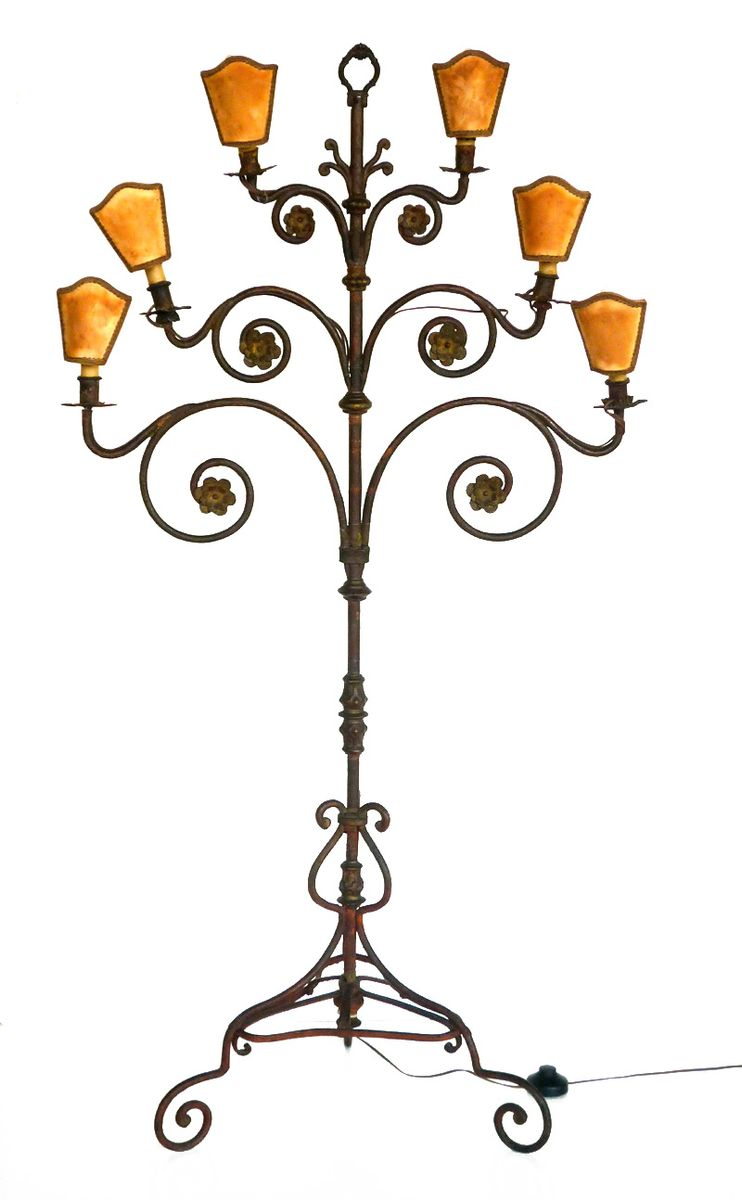 Wrought iron floor lamp 1940s for sale at pamono wrought iron floor lamp 1940s mozeypictures Images