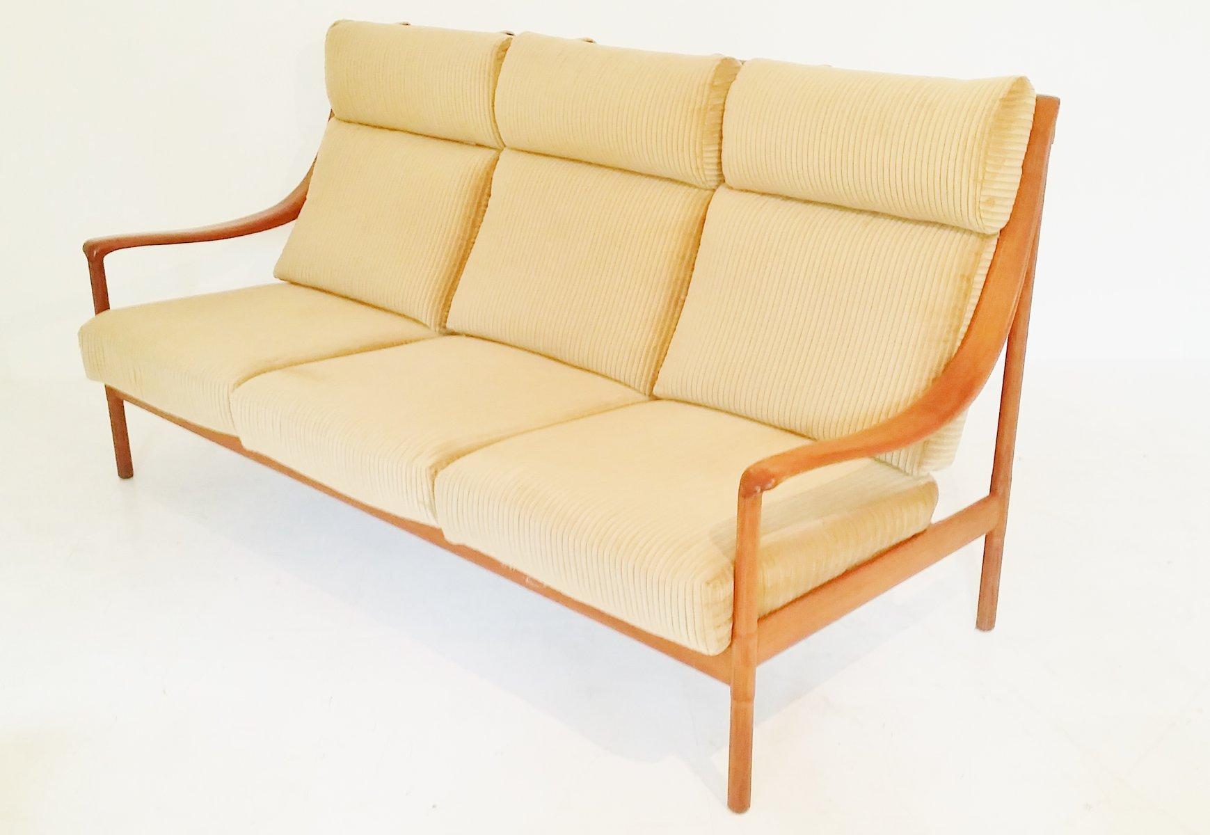 teak sofa mit hoher r ckenlehne 1960er bei pamono kaufen. Black Bedroom Furniture Sets. Home Design Ideas