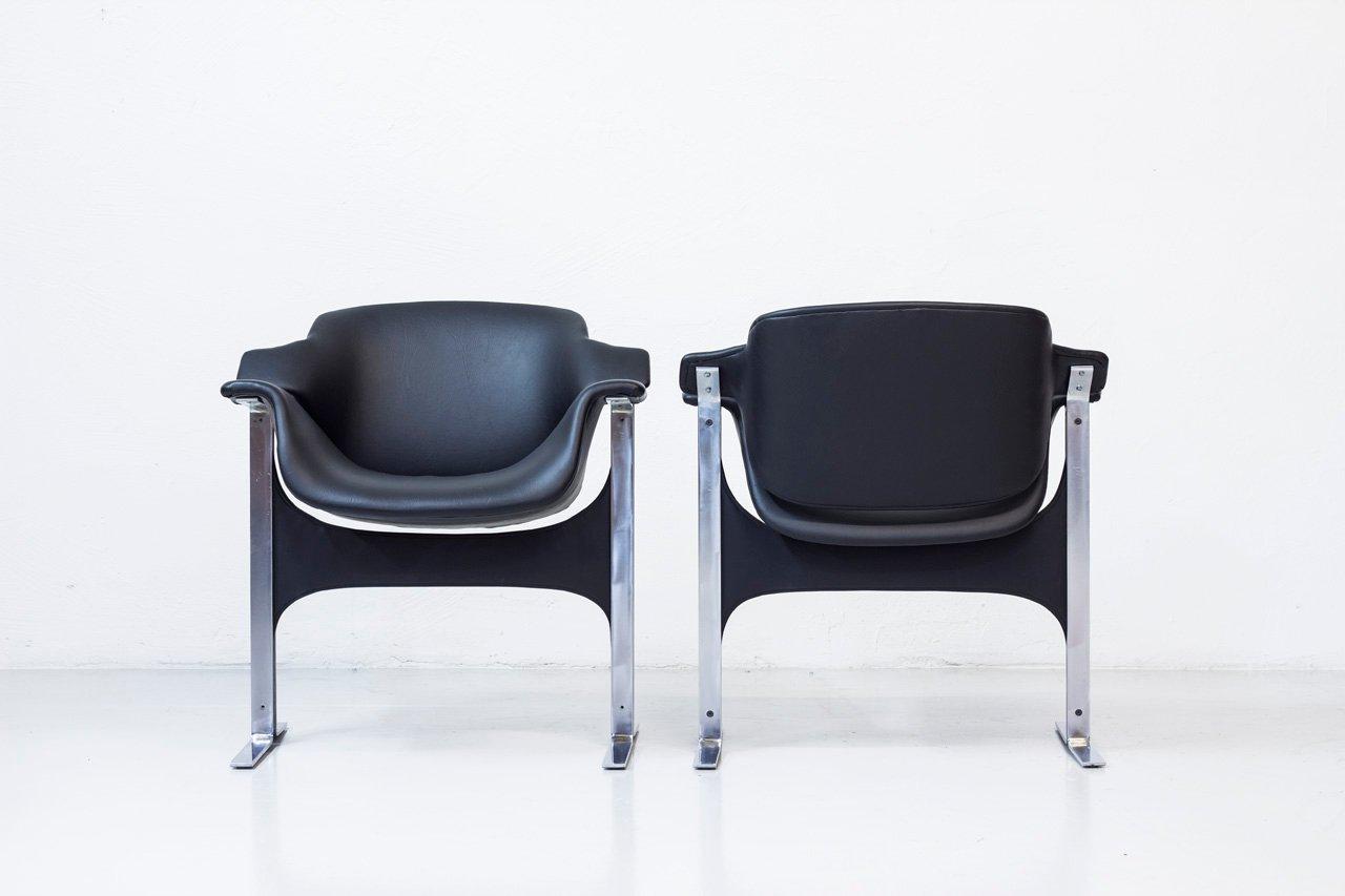 d nische leder st hle von j b meyer f r kembo 1970er. Black Bedroom Furniture Sets. Home Design Ideas