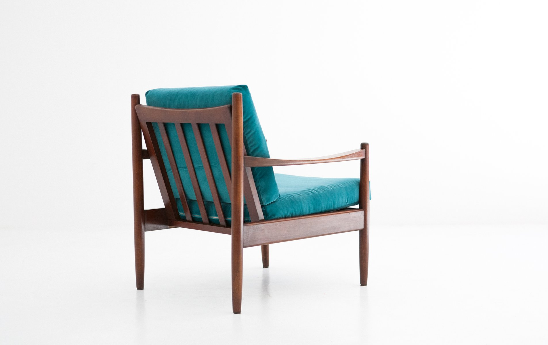 Swedish Blue Velvet Armchair, 1950s