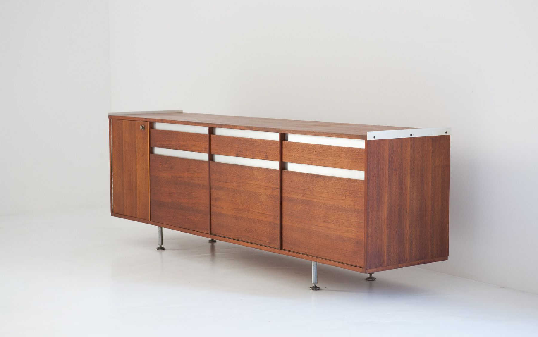 Italian modern mahogany sideboard by alberto rosselli for 1950 s credenza