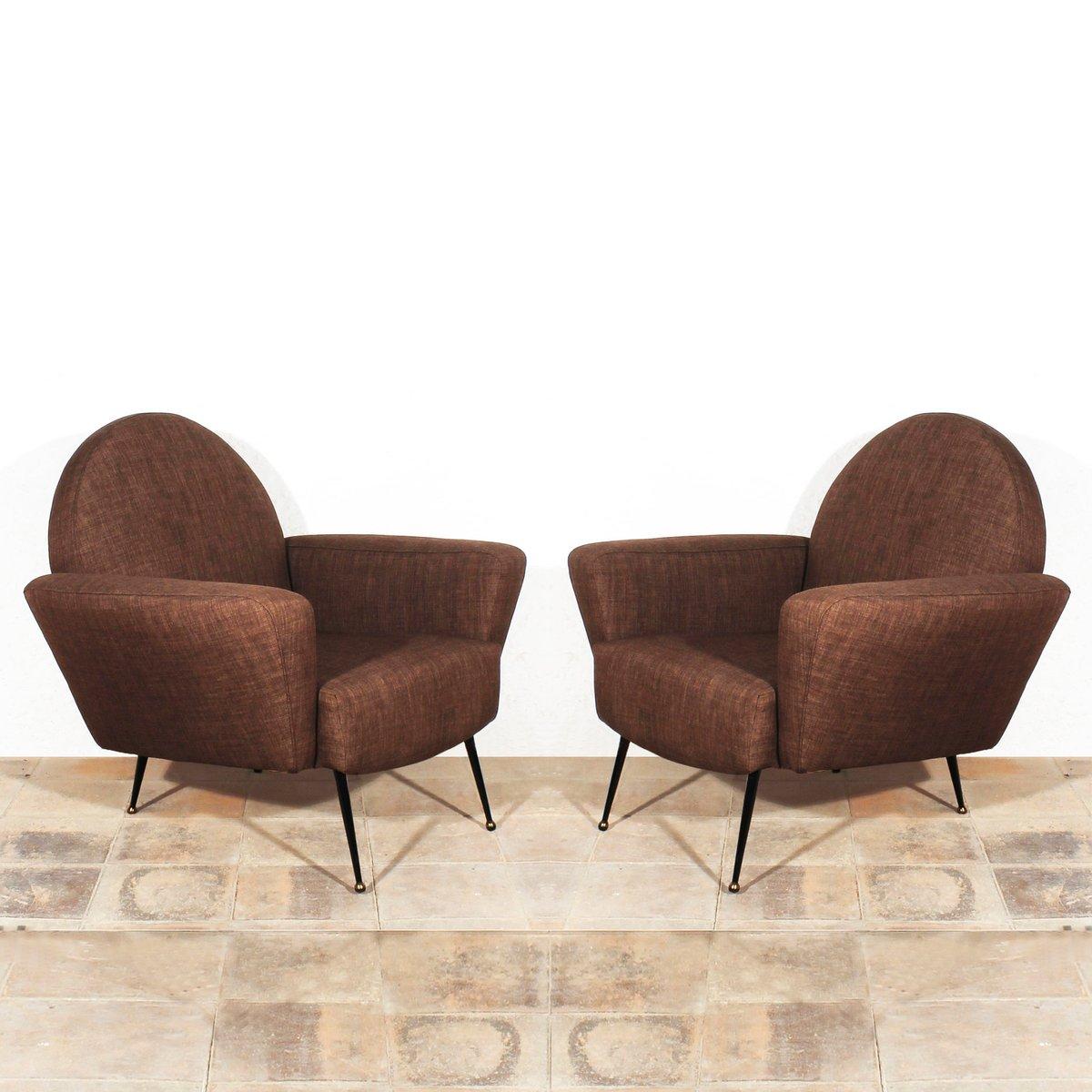 braune franz sische club st hle 1955 2er set bei pamono. Black Bedroom Furniture Sets. Home Design Ideas