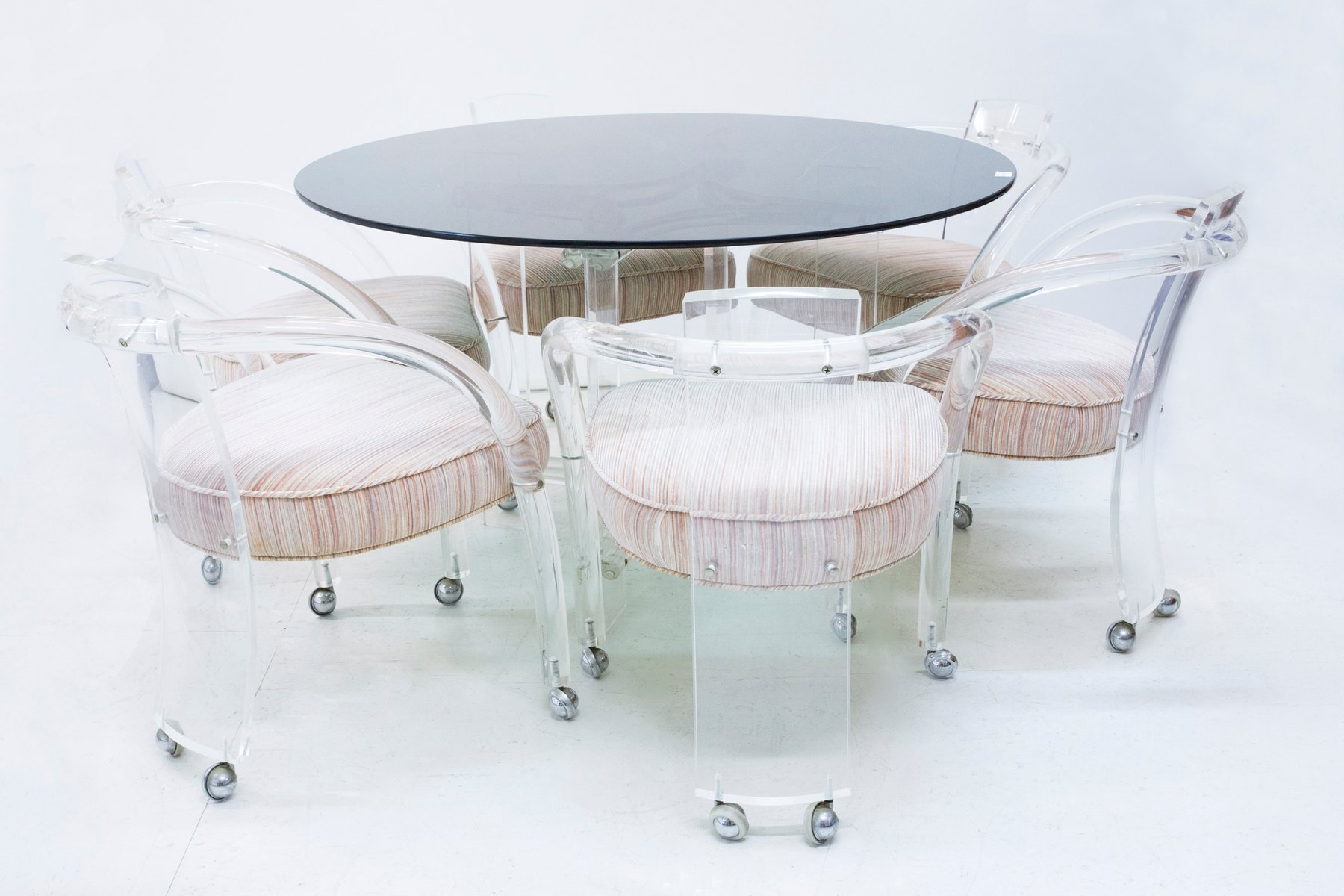 Lucite Dining Table & 6 Chairs Set by Charles Hollis Jones 1960s