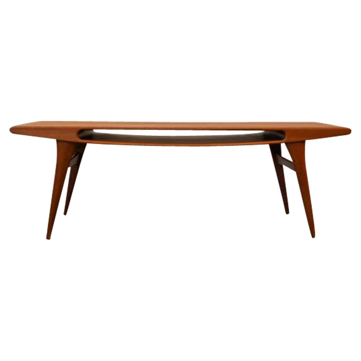 Table basse vintage en teck avec ouverture sourire - Table de salon antique ...