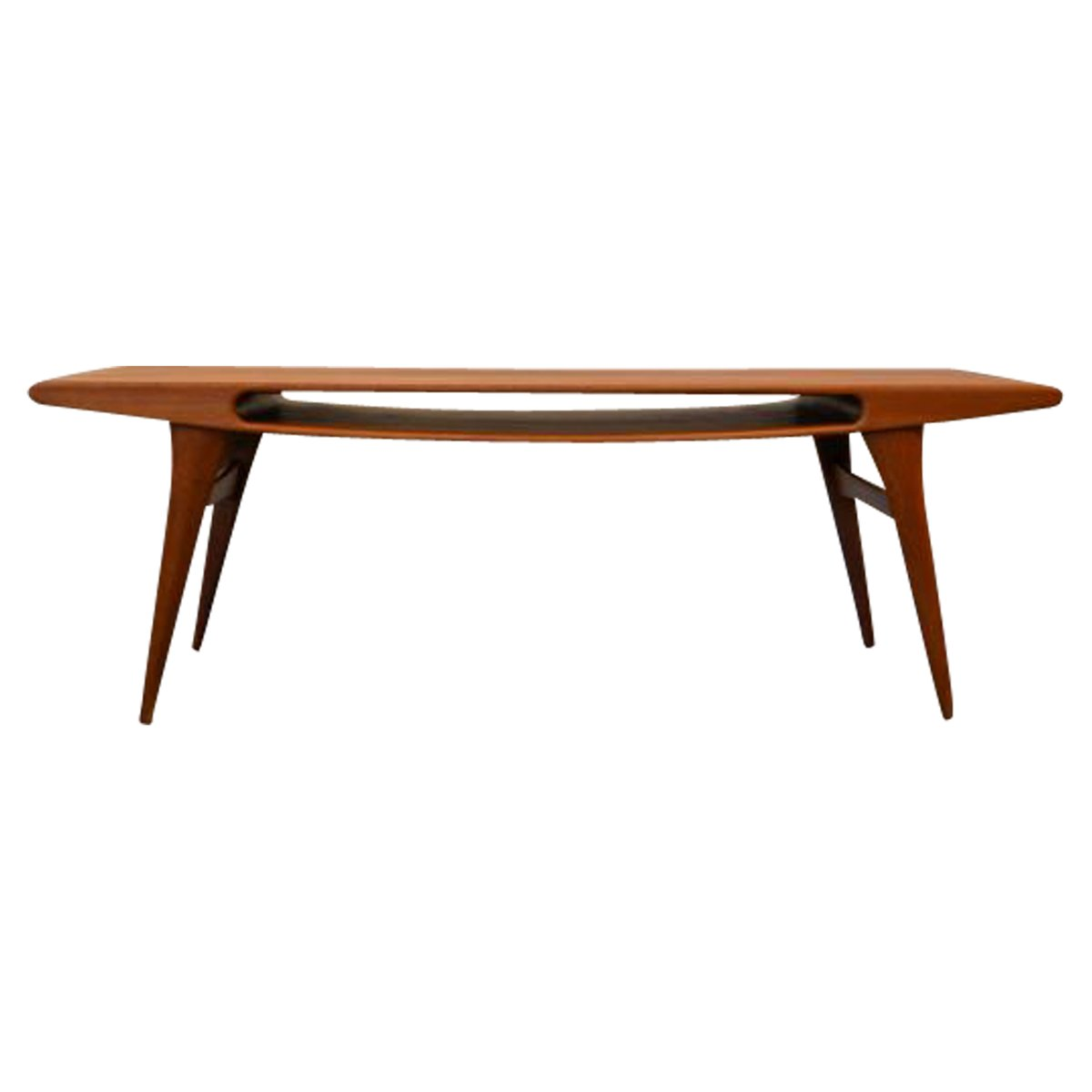 Vintage Danish Teak Coffee Table With Smile Opening For Sale At Pamono Gallery