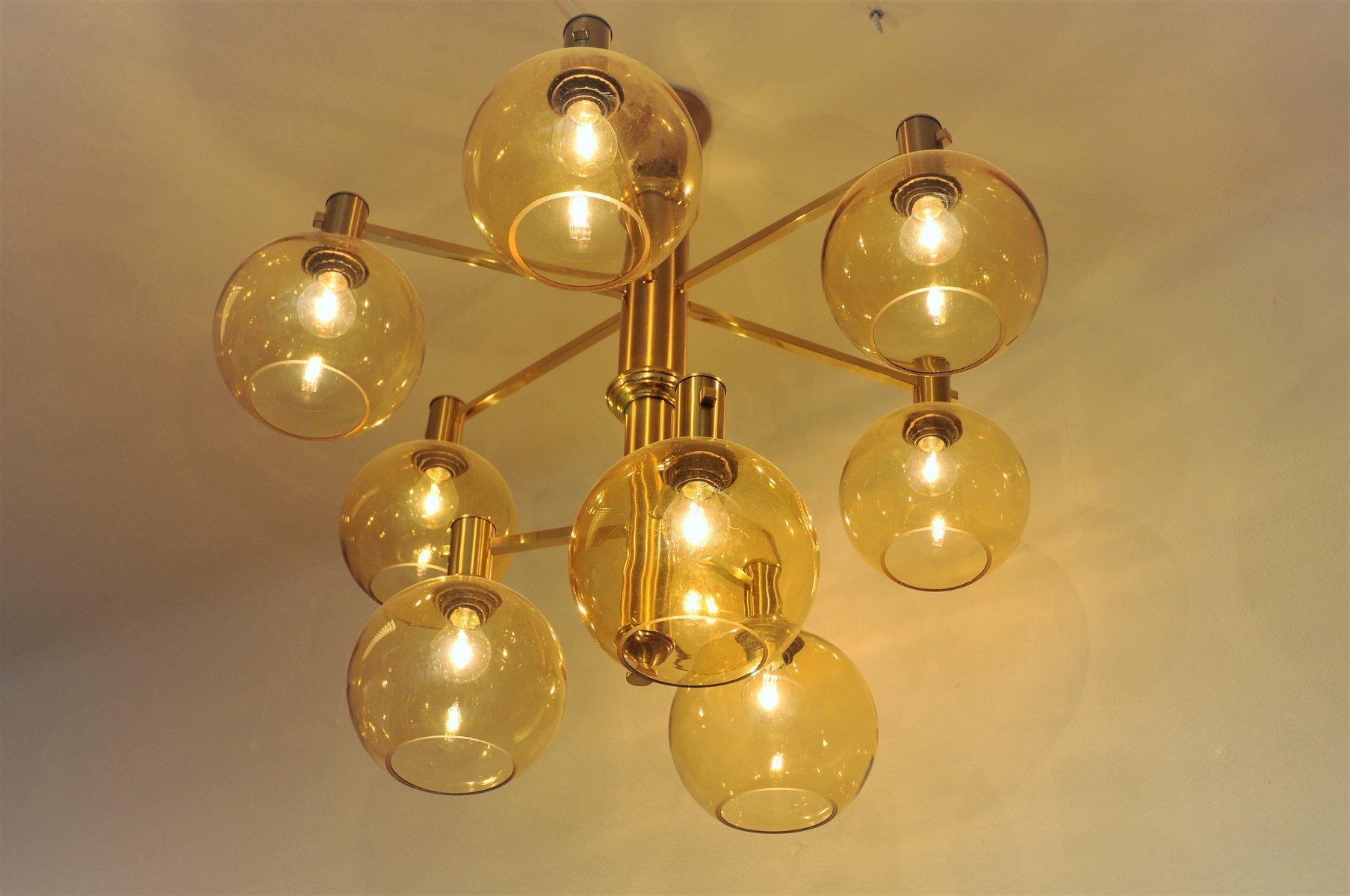 gro e vintage deckenlampe aus messing und glas bei pamono. Black Bedroom Furniture Sets. Home Design Ideas