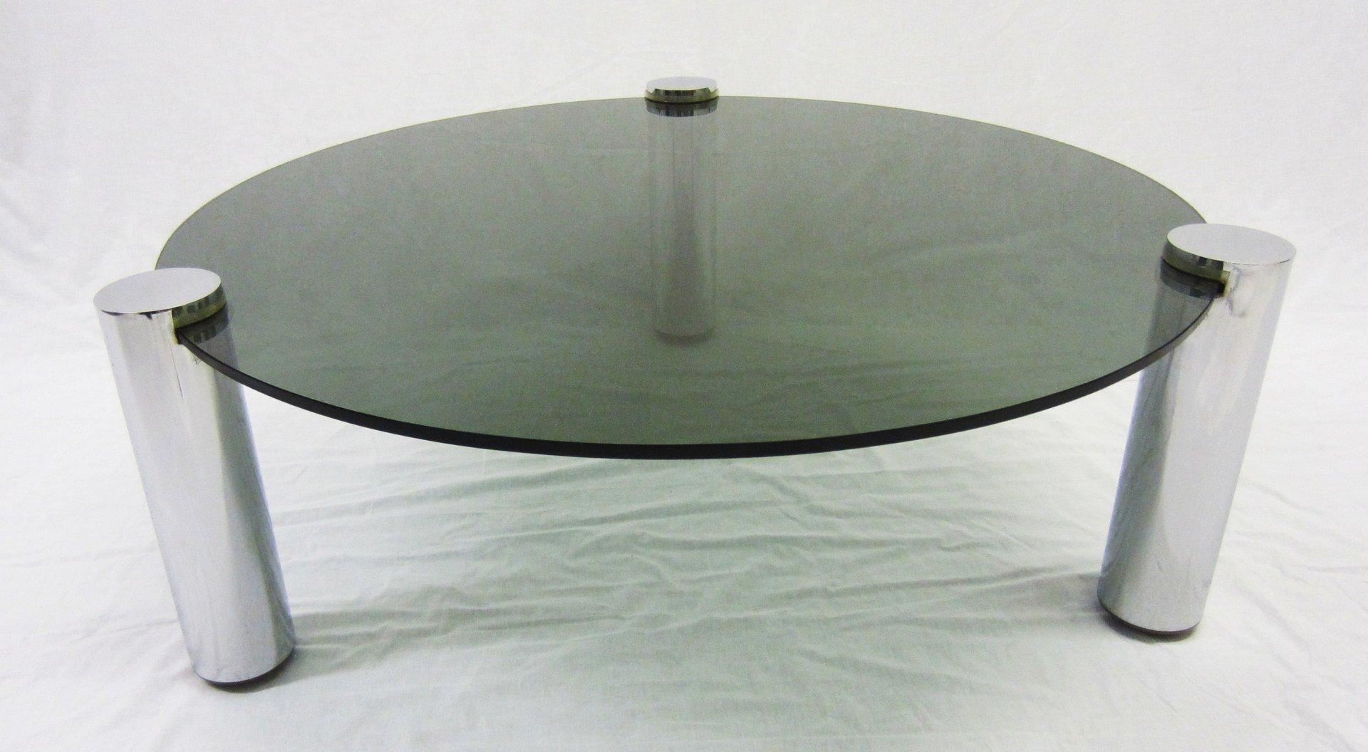runder couchtisch aus glas und chrom von pieff 1960er bei pamono kaufen. Black Bedroom Furniture Sets. Home Design Ideas