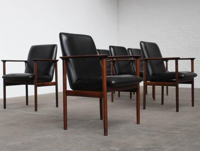 Rosewood Conference Chairs By Arne Vodder For Sibast, 1960s, Set Of 6 For  Sale At Pamono