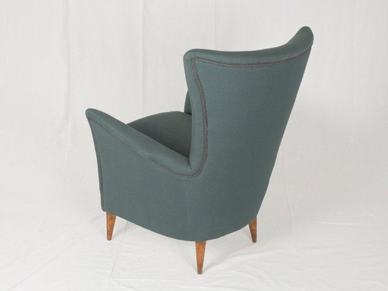 italienischer grauer mid century sessel 1950er bei pamono kaufen. Black Bedroom Furniture Sets. Home Design Ideas