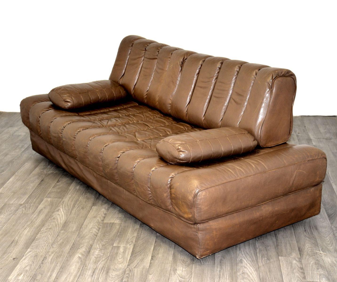 braunes schweizer ds 85 leder schlafsofa von de sede. Black Bedroom Furniture Sets. Home Design Ideas