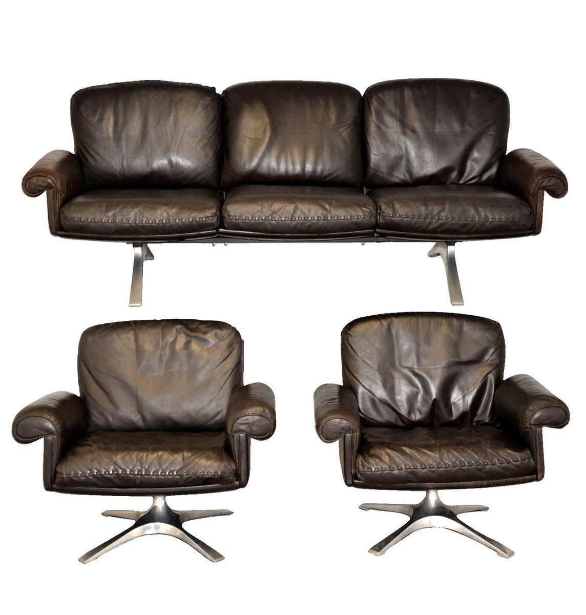 Poltrone girevoli e divano ds 31 vintage di de sede for Poltrone girevoli