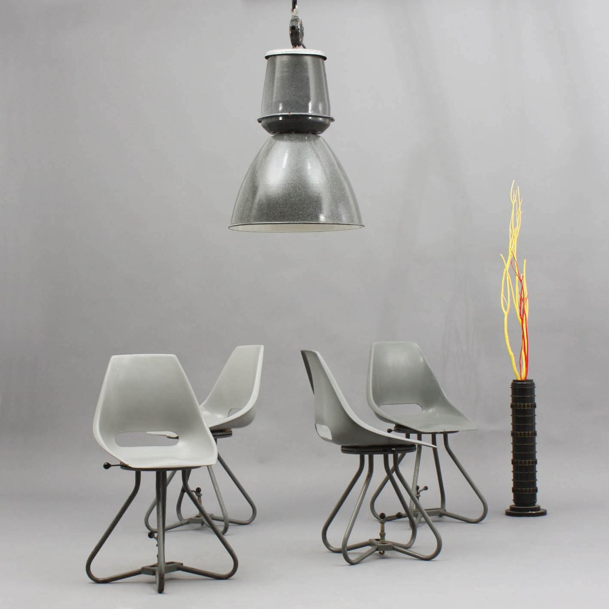 Lampe vintage industrielle en m tal emaill en vente sur pamono - Lampe vintage industrielle ...