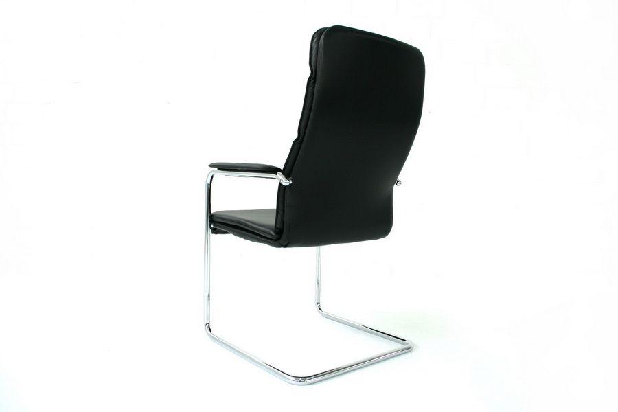 verchromter softpad freischwinger aus stahl schwarzem leder von walter knoll bei pamono kaufen. Black Bedroom Furniture Sets. Home Design Ideas