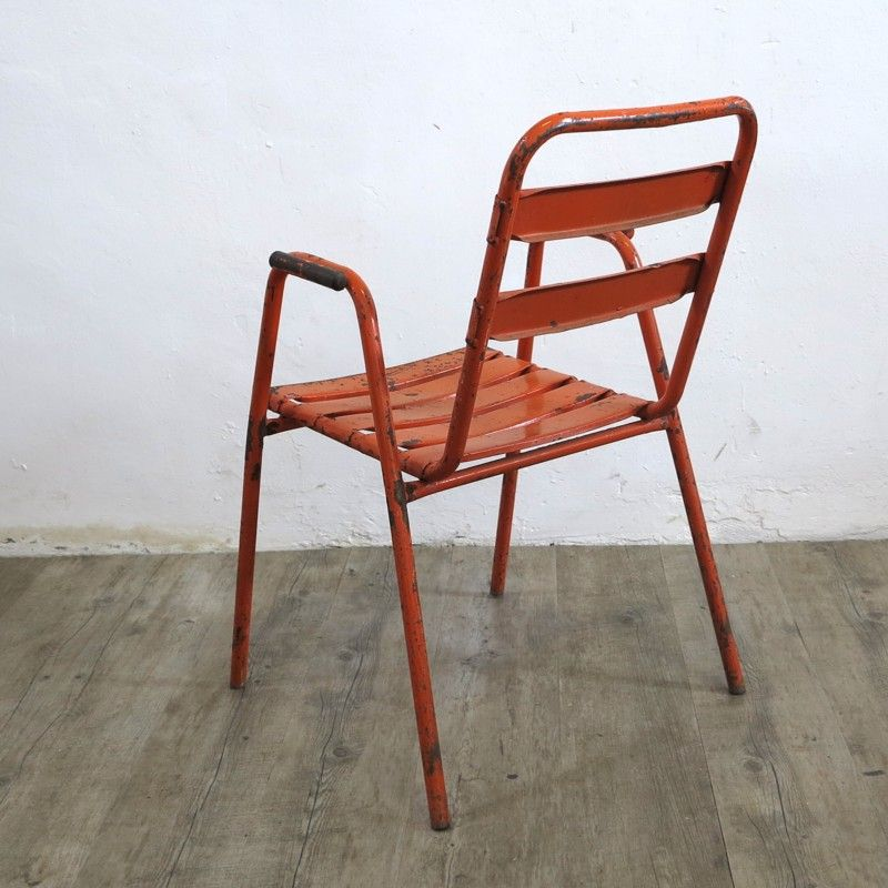 chaise vintage industrielle orange 1950s en vente sur pamono. Black Bedroom Furniture Sets. Home Design Ideas